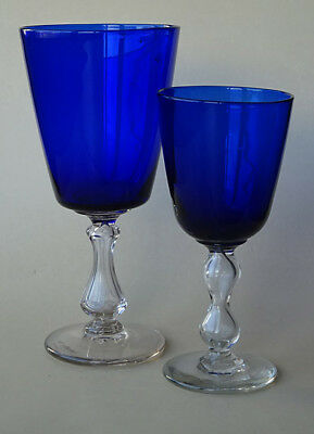Antique Blue Glass Goblet Pair Clear Footed Cup Cups 19Th. Century Namur