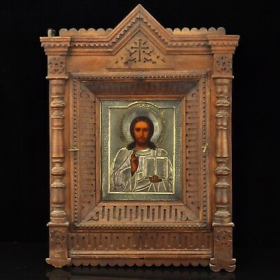 Antique Russian icon of Jesus Christ  with silver cover inside wooden box kiot