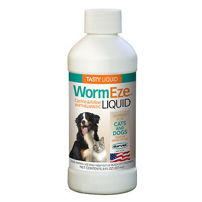 Wormeze Liquid for Dogs and Cats, Wormer, worms, 8 Oz Bottle