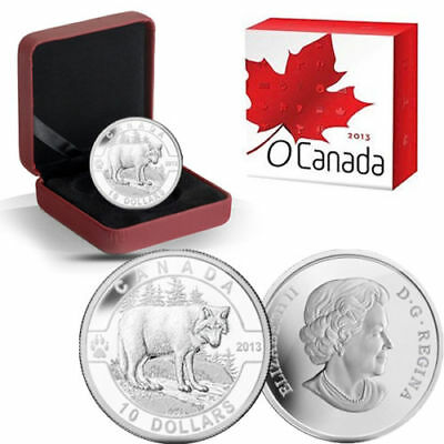 2013 Wolf $10 Fine Silver Coin - Oh Canada Series - In Case with COA