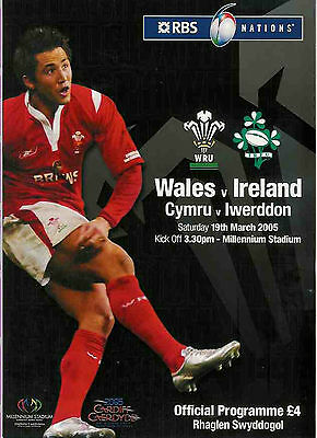 WALES v IRELAND 2005 RUGBY PROGRAMME - WELSH GRAND SLAM MATCH