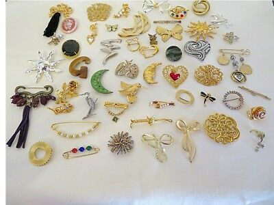 Huge Lot 50+ Beautiful Vintage to Now Pins - Rhinestones, Faux Pearl, Florals