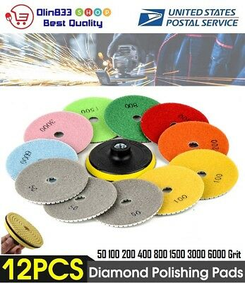"12pcs Diamond Polishing Pad Wet/Dry 4"" Set Kit Granite Concrete Marble Stone"