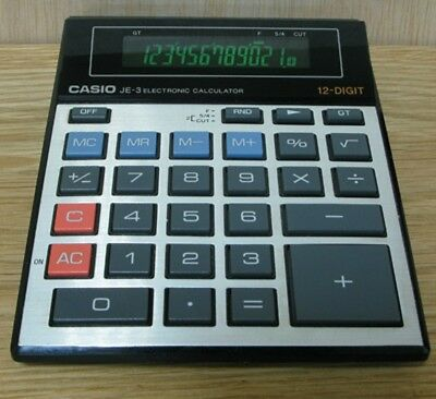 Calculadora Vintage Casio JE-3 Electronic 12-Digit Made in Japan (MUY RARA )