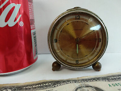 Antique Junghans alarm clock mechanical wind-up table desk for parts or repair