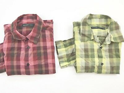 2x Genuine Dockers Original Men's Checked Short Sleeves Shirts Buttons Down SZ L