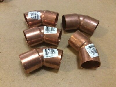 "Lot Of (5)   1"" Copper 45 Degree Elbow Sweat Solder Pressure Elkhart  New"