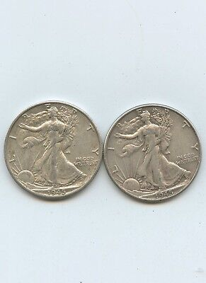 1945 - P AND D - Walking Liberty Halves  -VF- XF - #14990