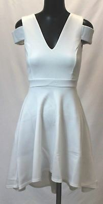 3d01f2820a8a Boohoo Women's Clea Bardot Plunge High Low Skater Dress AB3 Ivory UK:8 US: