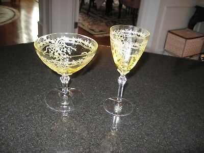 "LOT OF 2  Fostoria June Topaz Yellow Elegant 1-5 1/2"" WINE & -LOW SHERBERT 4 1/4"