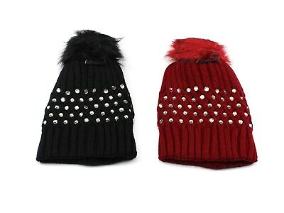 9c1fc35b0d6 Women s Knitted Beanie Hat with Rhinestones Studs Bling and Pom Pom