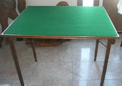 Antique Wood Folding Card Table Pat. 1888 Oak with Wool Felt Top Sewing Crafts