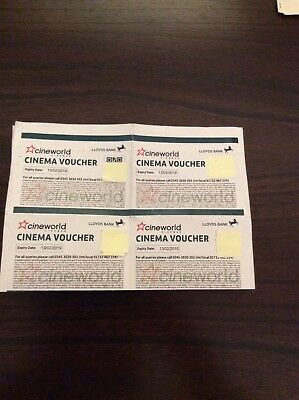 6 Cineworld Cinema Vouchers