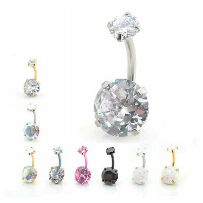 "14G Large 3/8"" CZ Belly Button Navel Ring Gold Tone Stainless Black Piercing"