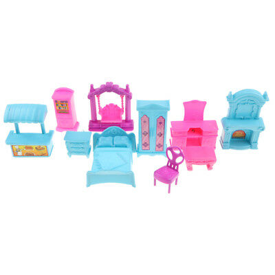10pcs/set Dollhouse Furniture Pretend Role Play Toy Set for Kids - Bedroom