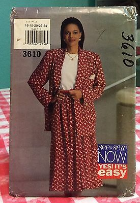 1994 See & Sew Butterick Sewing Pattern 3610 16-24 Jacket Skirt Top Uncut