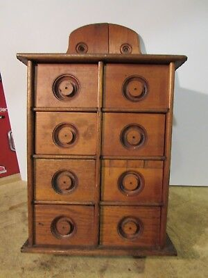 PRIMITIVE ANTIQUE EIGHT DRAWER SPICE RACK 1880 - 1920's AMERICANA SPICE CABINET