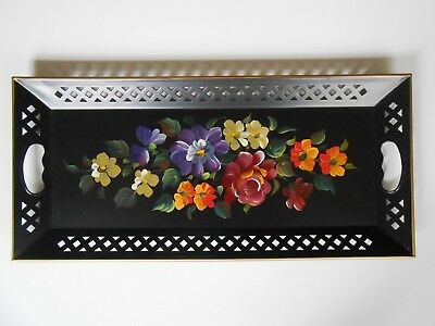 """NASHCO Toleware Black Metal 22"""" Serving Tray Hand Painted Flowers with Lattice"""