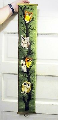 """Vintage 1970s Hand-Sewn """"Owls in Tree"""" Crewel wall hanging Large 3' Long 8"""" Wide"""