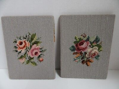 2 Finished Needlepoint Floral Rose Bouquet 6x8 Flowers Completed