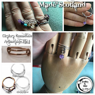 WireWrapped Adjustable Expandable Ring Copper or Sterling Silver Choice Gemstone
