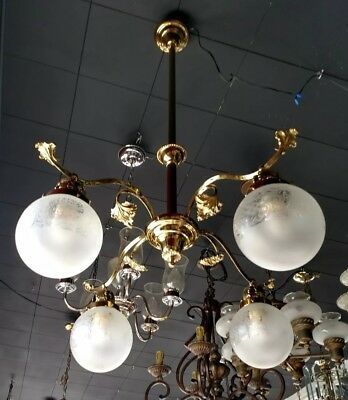 Antique Victorian Hanging Brass Light Fixture;   4 Arm French Shades