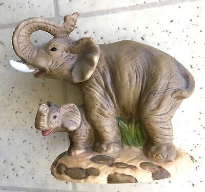 COLLECTIBLE Mama & Baby Elephant Lucky Trunks-Up Mini Figurine~PERFECT CONDITION