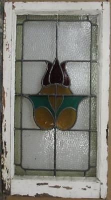 "MID SIZED OLD ENGLISH LEADED STAINED GLASS WINDOW Bordered Abstract 17"" x 31.5"""