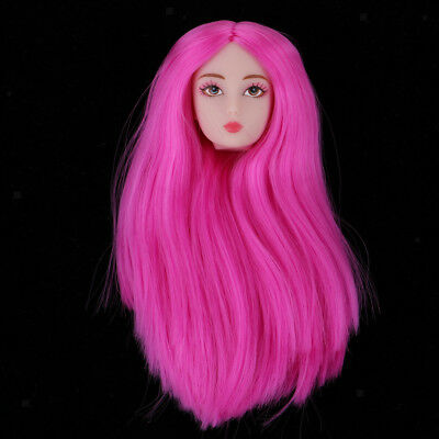 1//6 BJD Makeup Face Head Sculpt Rooted Brown Wig Doll Replacement Body Part