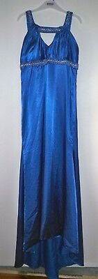 Stunning Blue Satin Custom Made Formal Dress with Train - Size 16