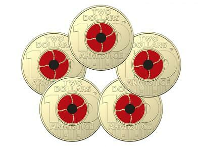 5 x UNC 2018 Red Poppy Armistice - Remembrance Day Colour $2 Coins, RAM Bag