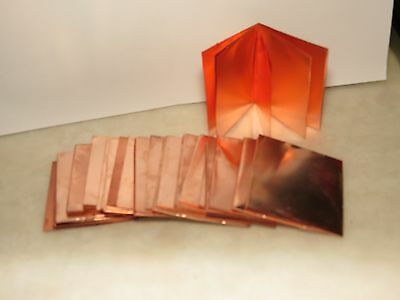 14 Ozs Scrap Copper Flashing Squares 2 X 2-1/4 Inch Pieces Artist Crafts Art