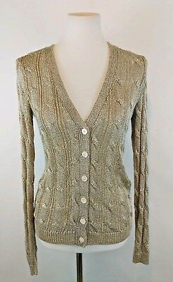 Ralph Lauren Black Label Gold Metallic Cable Knit Cardigan Small EXC Button Up