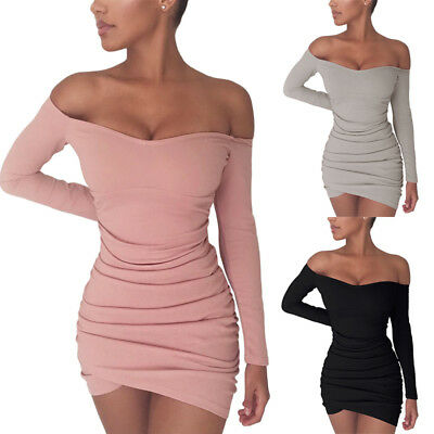 US Sexy Women Long Sleeve Off Shoulder Party Cocktail Bodycon Split Dress MD