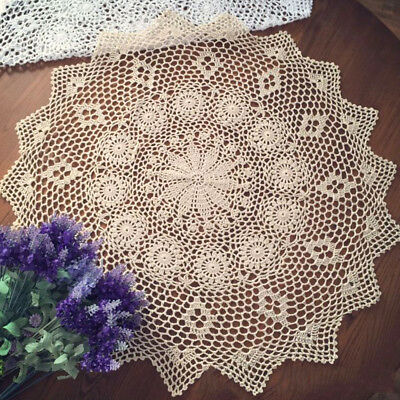Vintage Hand Crochet Lace Doily Table Topper Round Beige TableCloth Cover 27-29""