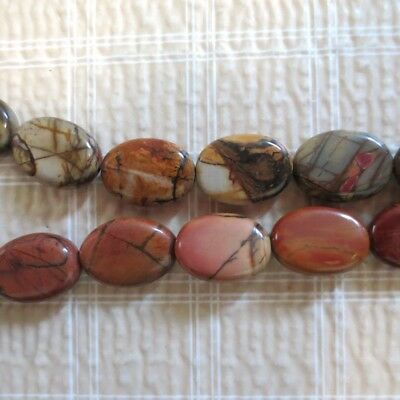 Multicolor Picasso Jasper Oval Beads 14mm 16""