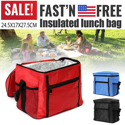 OXFORD FABRIC THERMAL Cooler Waterproof Insulated Portable Picnic Lunch  Food Bag