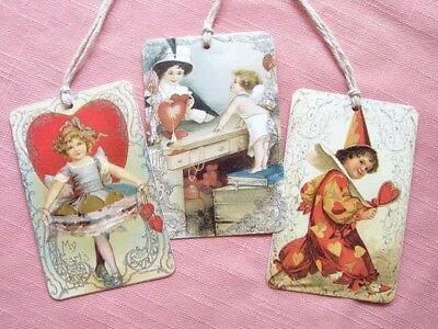 "Set of 8 Large 3.5"" Vintage Victorian VALENTINE GIFT or HANG TAGS with string"
