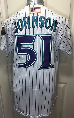 6ba5654f promo code for new 51 randy johnson arizona diamondbacks white pinstriped  jersey mens m 346ba 0be33