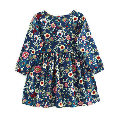 Baby Girl Floral Dress Long Sleeve Party Pageant Princess Dresses Kids Clothes