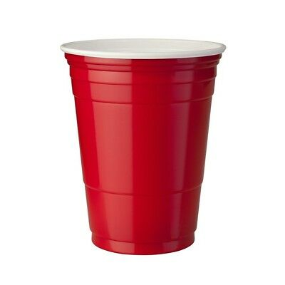 100 x American Red Party Cups Plastic beer solo Pong 450ml USA Disposable Drinks