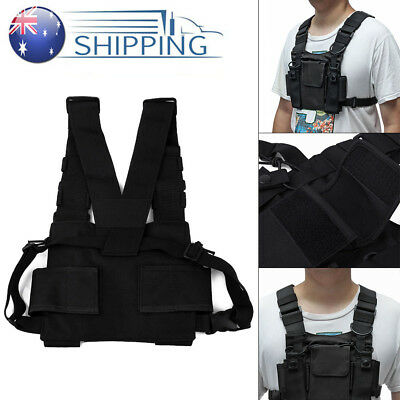 Holster Vest Rig Bag Radios Pocket Radio Chest Harness Front Pack Pouch Black