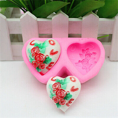 3D Silicone Rose Heart Shape Fondant Cake Mold DIY Tool  Kit Soap Candle Mould