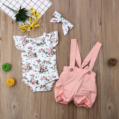 Lovely Kids Baby Girls Floral Romper Bodysuit Bib Pants Overalls Outfit Clothes