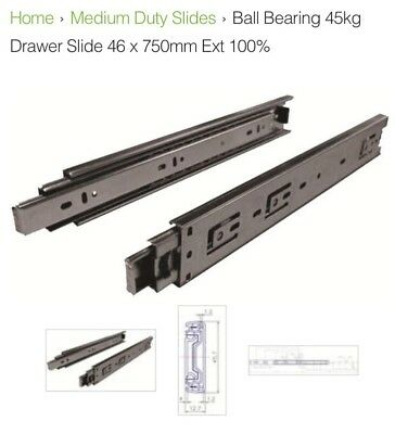 "500lb Draw 64/"" 1600mm 227kg Heavy Duty Drawer Slides // Fridge Runners"