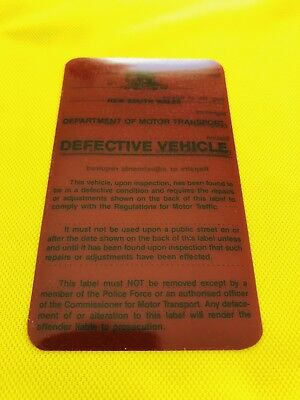 Police NSW Obsolete Defective Vehicle Sticker: RED. Form 317B. Motor Transport.
