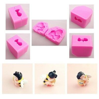 3D Silicone Sleeping Bee Baby Birthday Cake Resin Clay Candle Soap Mould A33X