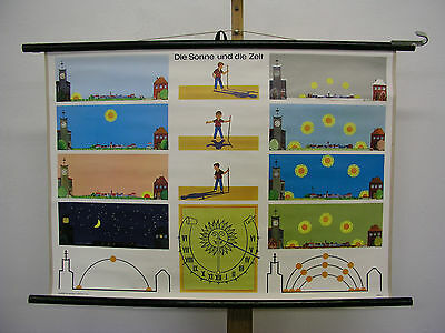 Beautiful Old Schulwandkarte Sun and the Time Sun Dial 90x64cm Vintage Map~1961