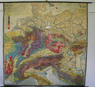Schulwandkarte Beautiful Old Europakarte Geology 196x196 Vintage Map 1951