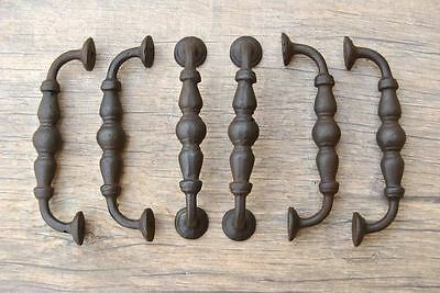 "6pcs vtg cast iron door cabinet screen handle pull rustic 5.8"" salvage farm deco"